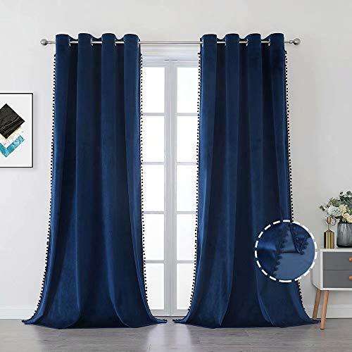 Selectex Pom Pom Velvet Curtains for Living Room - Grommet Light Blocking Room Darkening Curtain for Bedroom Soft Luxury Tassel Window Drapes, 52 x 95 inches Long, Navy, Set of 2 Panels