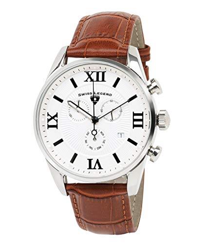 Swiss Legend Belleza 22011-02S-BR Reloj analógico de cuarzo suizo con esfera blanca y caja de acero inoxidable plateada con correa de cuero marrón para hombre