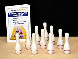 Zieglerworld Premium White Table Shuffleboard Bowling Pins - Set of 10 Pins Plus Rule Booklet