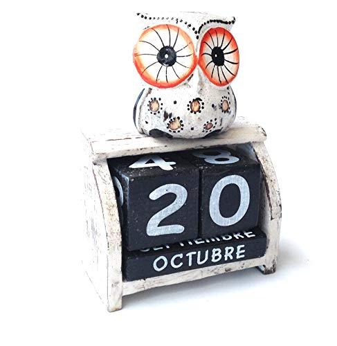 Bloque de Calendario perpetuo de Madera diseño de búho(HC-20112788)