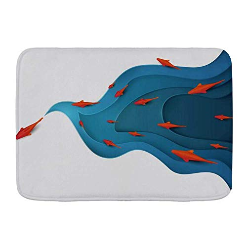 Yilan Alfombra de baño Alfombra, Pez Koi sobre Agua Moderno Origami Día Mundial del Medio Ambiente Animales Fauna Silvestre, Felpa Decoración de baño Alfombrillas con Respaldo Antideslizante