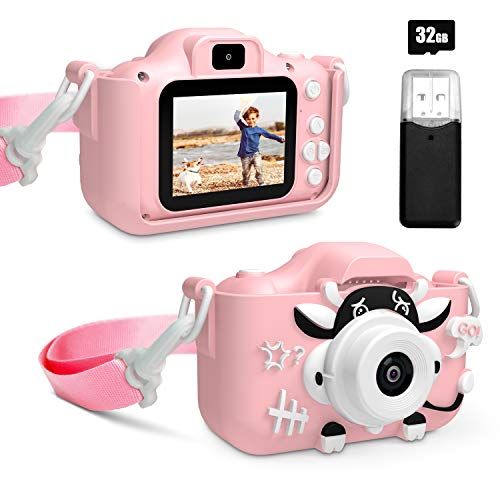 PEYOU Kids Digital Camera, 1080P 2 Inch Portable Selfie Camera for Toddler, Best Birthday Gift for for 3-10 Year Old Girls Boys, Childrens Toy Action Camera with 32GB SD Card (Pink)
