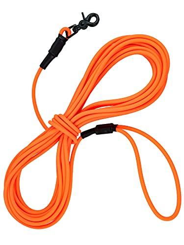 lupolos® Schleppleine mit Handschlaufe 5m und 10m - wasserfest, abwaschbar & pflegeleicht, PVC, Neon Orange