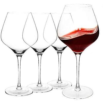 COYMOS Burgundy Wine Glasses 28 Oz, Large Red Wine Glasses Set of 4 - Lead-Free Crystal Clear Glass, Stemmed Wine Glasses, Tall Wine Glass for Parties, Housewarming, Anniversaries, Christmas, etc.