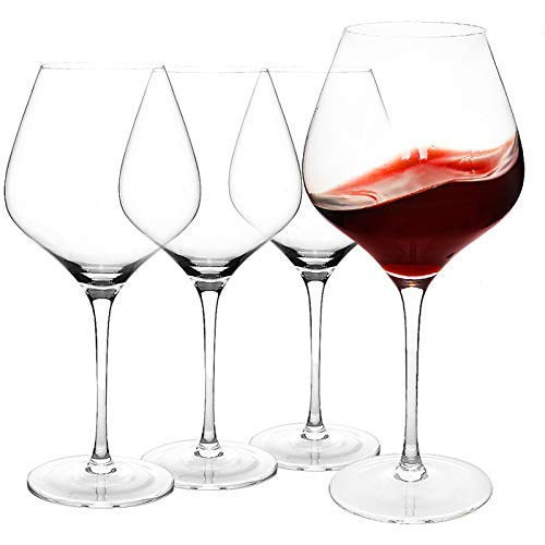 COYMOS Burgundy Wine Glasses 28 Oz, Large Red Wine Glasses Set of 4 - Lead-Free Crystal Clear Glass, Stemmed Wine Glasses, Tall Wine Glass for Parties, Housewarming, Anniversaries, Christmas, etc.