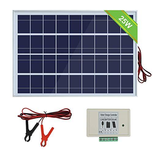 ECO-WORTHY 12V 25W Sonnenkollektorsystem: 25W Polykristallines PV-Panel mit 3 Draht- und 30A-Batterieklemmen mit 6-Fuß-Verlängerungskabel & 3A 12V / 24V Photovoltaikanlagen für Camping