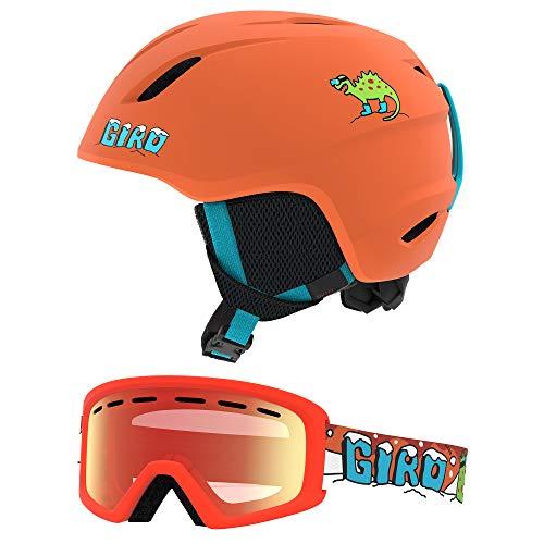 Giro Launch Kids Snow Helmet Goggle Combo Matte Orange Dino/Dino Snow Flash SM (52-55.5CM) Helmet 7104869 Goggle 7105715