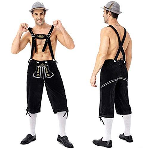 APQMR Trachtenkleider Damen Deutschland Oktoberfest Bier Mann Lederhosen Kostüm Halloween Bayerische Karneval Party Deluxe Cosplay Hosenträger Shorts-Schwarze Hosen_XL_Andere