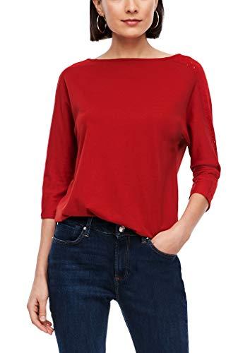 s.Oliver Damen Fabric-Mix-Shirt mit Lochstickerei Dark red 40