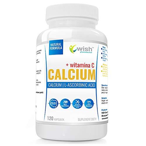 Wish Pharmaceutical Calcio + Vitamina C Paquete de 1 x 120 Cápsulas – Ácido L-Ascórbico sin Azúcar- Sin Gluten