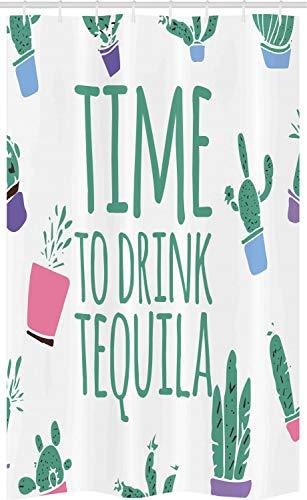 ABAKUHAUS Tequila Douchegordijn, Tijd om Drink Woorden Cactus, voor Douchecabine Stoffen Badkamer Decoratie Set met Ophangringen, 120 x 180 cm, Sea Green Multicolor