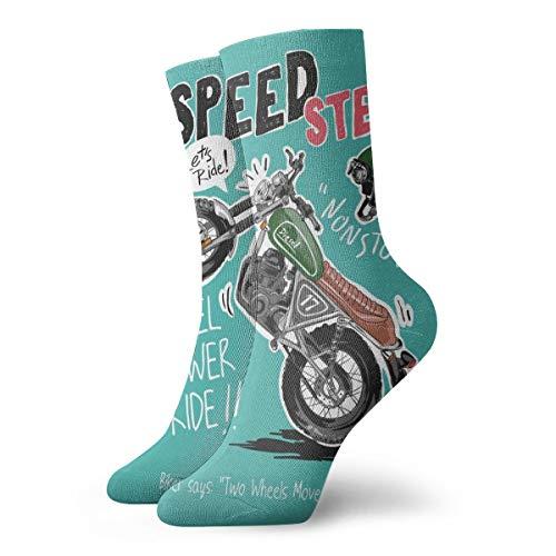Hunter qiang Calcetines para mujer y hombre, con eslogan Speedster con dibujos animados de moto y casco, 30 cm