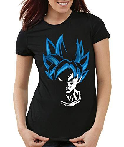 style3 Super Goku Blue God Mode T-Shirt Femme, Couleur:Noir, Taille:XS