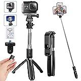 Palo Selfie de Control Remoto Bluetooth, 19CM-100CM Extensible Selfie Stick con Tornillo 1/4'' para Cámara/Gopro, Trípode Acero Inoxidable de Rotación 360 para iPhone/Huawei/Samsung/XiaoMi/LG/Sony