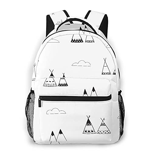 CVSANALA Multifuncional Casual Mochila,Patrón blanco y negro. Wigwams, montañas y nubes,Paquete de Hombro Doble Bolsa de Deporte de Viaje Computadoras Portátiles