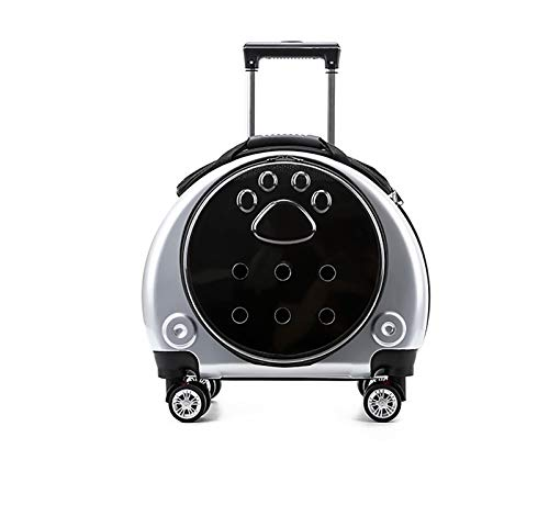 Cemoto Trolley Travel Cat Box,Portable And Breathable Visual Pet Trolley Case,Space Cabin Exterior Pet Suitcase,35 * 35 * 43Cm,Silver