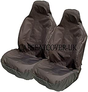 Carseatcover-UK BLKWP5139 Heavy Duty Black Waterproof Van Seat Covers Fronts  Armrest Provision