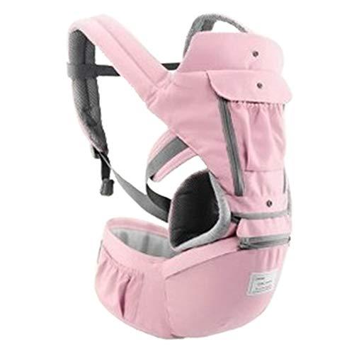 Ergonomische Babytrage für Neugeborene Vorne und Hinten mit Hüftsitz und Aufbewahrungstasche Komfortabler Tragetuchwickel mit coolem Netz und dickem Puffer(Rosa)