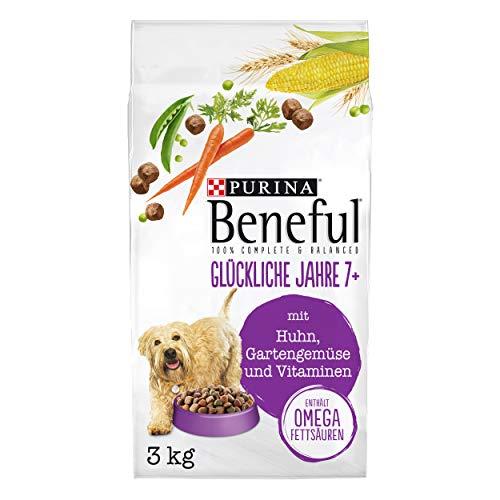 Purina Beneful - Pienso seco para Perros (años 7 + (con Pollo, Verduras y vitaminas), 4 Unidades (4 x 3 kg)