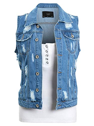SS7 Womens Denim Distressed Gilet
