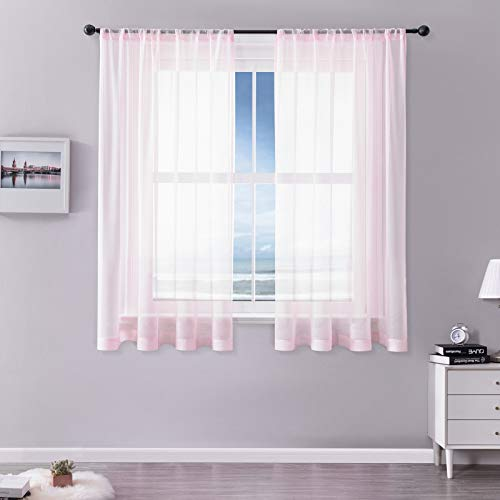 MRTREES Vorhänge Gardinen mit Store Vorhang Voile halbtransparent kurz in Leinenoptik Gardine Schals Rosa 145×140cm (H×B) für Wohnzimmer Schlafzimmer Kinderzimmer 2er Set