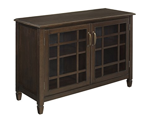 SIMPLIHOME Connaught SOLID WOOD 46 inch Wide Traditional Low Storage Cabinet in Dark Chestnut Brown, with 2 Tempered Glass Doors that open to a Cabinet with 2 Adjustable Shelves
