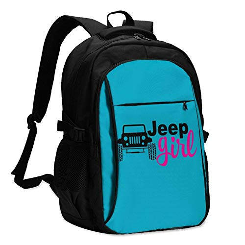 XCNGG Je-ep Girl Unisex Travel Laptop Backpack with USB Charging Port School Anti-Theft Bag