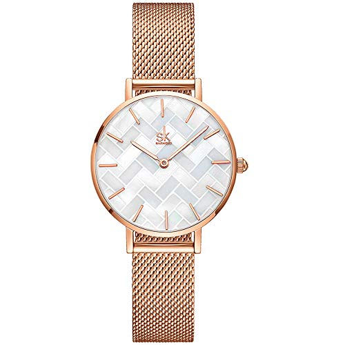 SHENGKE Estrella Relojes para Mujer Reloj Damas de Malla Impermeable Elegante Banda de Acero Inoxidable Relojes de Pulsera Moda Vestir Negocio Casual Reloj de Cuarzo (Shell Dial-Mesh Band-Rosegold)