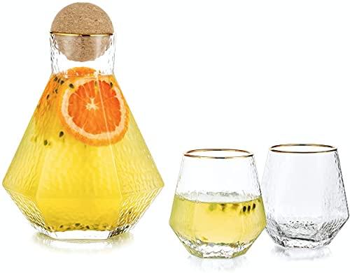 HFDY Jarra de agua de vidrio con tapa de corcho de 40 oz/1300 ml, jarra moderna con 2 tazas de nevera para coctail leche jugo helado limondade para mesa de cocina