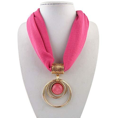 zhibeisai Collar Pendiente de la Bufanda clásica Circular Colgante de la aleación de la Bufanda de poliéster sólido