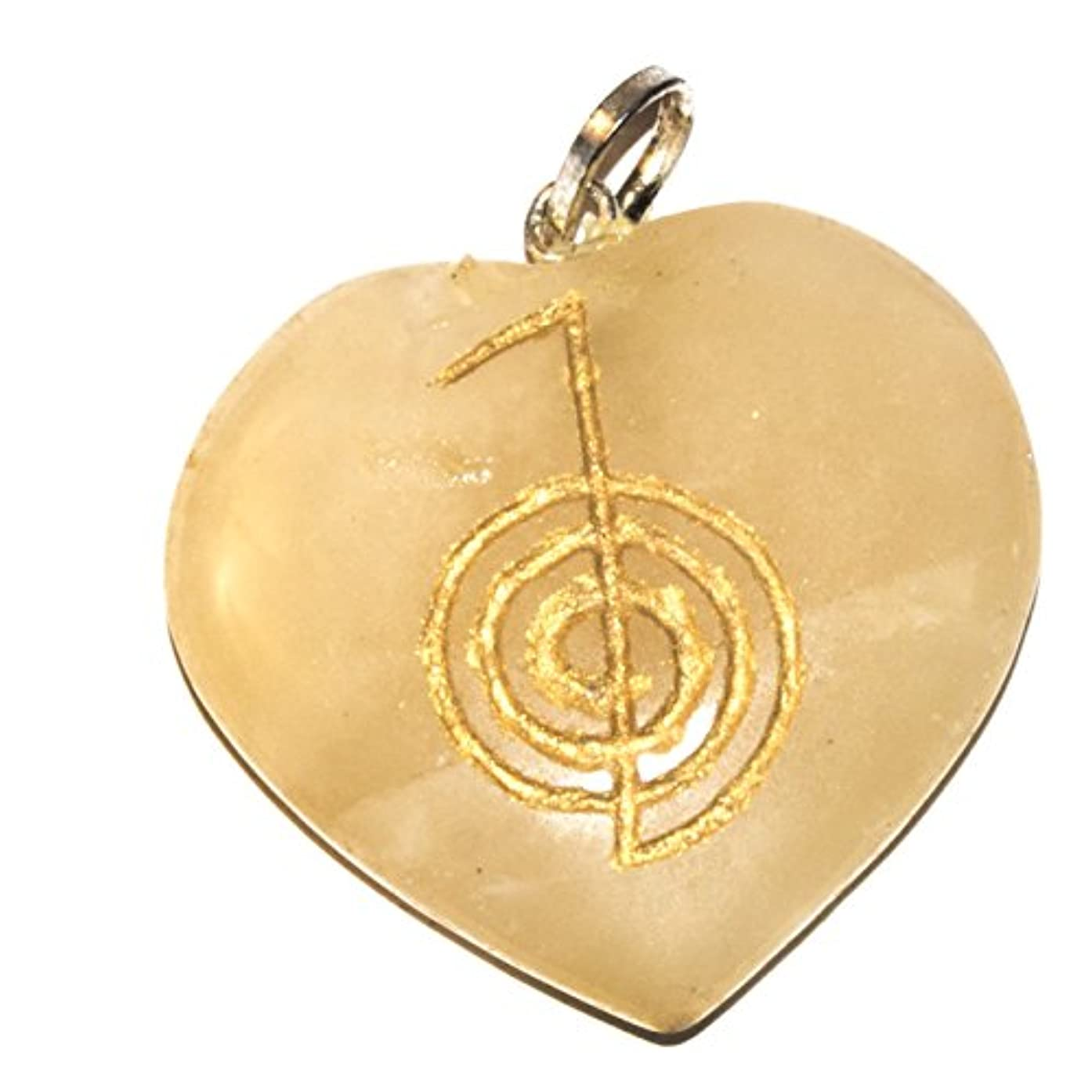 Crocon Yellow Gold Aventurine Heart Shape Pendant with Engraved cho ku rei Power Symbol for Crystal Healing Reiki Love Prosperity Success Abundance Protective Stone
