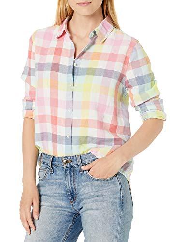 Amazon Essentials Relaxed-fit Long-Sleeve Linen Shirt Dress, Motif à Carreaux Arc-en-Ciel, 42-44