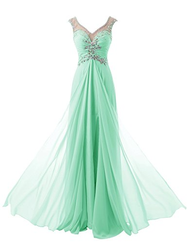 Beyonddress Damen V-Ausschnitt Lang Chiffon Empire Abendkleid Ballkleid Cocktail Partykleid(Minze,44)