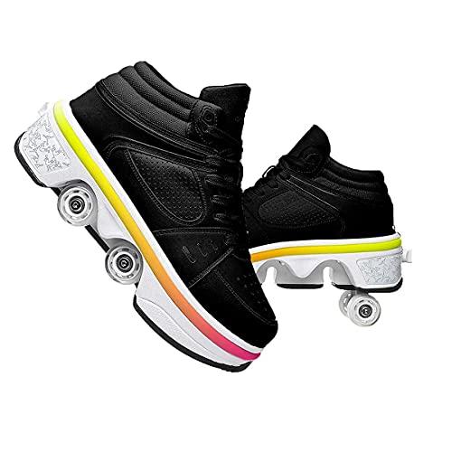 XWZH Invisible De Polea De Zapatos Deformación 4 Rueda Patines En Paralelo Zapatos Multiusos 2 En 1 Skate Ligeros Calzado para Niños Adolescentes Y Adultos 古黑色,36