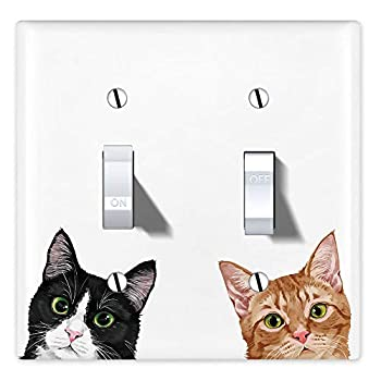 WIRESTER Double Gang Toggle Light Switch Plate/Wall Plate Cover - Tuxedo Orange Tabby Cats