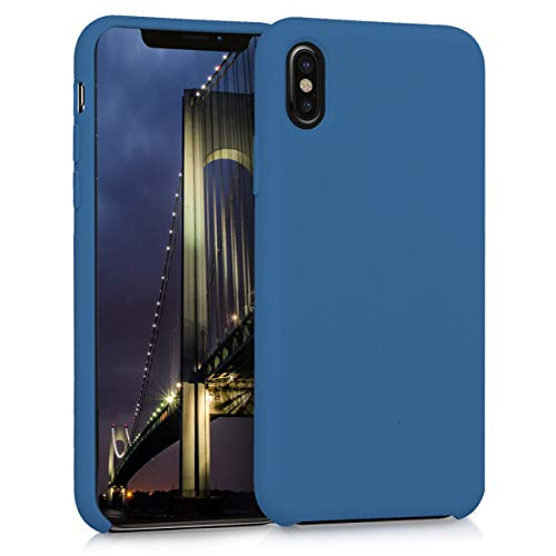 kwmobile Custodia Compatibile con Apple iPhone X - Cover in Silicone TPU - Back Case per Smartphone - Protezione Gommata Blu Marino