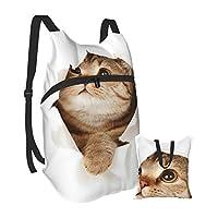 折りたたみ アウトドアバックパック 猫柄 ネコ ベッド 防撥水 リュックサック 軽量 コンパクトバックパック 大容量 デイパック 折畳み スポーツ ナップサック 旅行用バッグ メンズ レディーズ 登山 収納袋付き