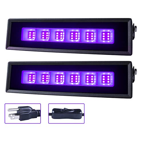 36 LED Black Light, Ontesik 27W LED UV Bar Glow in The Dark Party Supplies for Christmas Blacklight Party Birthday Wedding Stage Lighting, 2pack