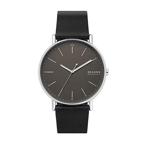 Skagen Herren Analog Quarz Uhr mit Leder Armband SKW6528