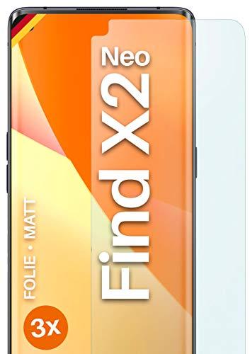 moex Schutzfolie matt kompatibel mit Oppo Find X2 Neo - Folie gegen Reflexionen, Anti Reflex Bildschirmschutz, Matte Bildschirmfolie - 3X Stück