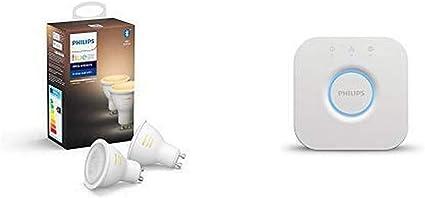 Philips Hue White Ambiance Pack 2 bombillas LED inteligentes GU10, luz blanca de cálida a fría + Puente de conexión controlable vía WiFi, iluminación inteligente, 1 unidad
