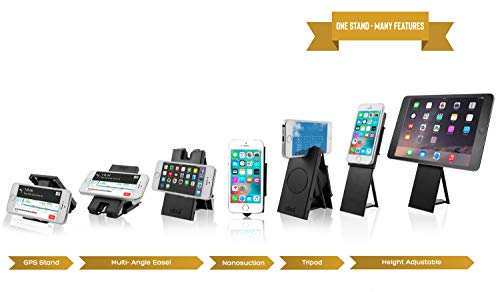 5-in-1 Pocket Size Cell Phone Stand for Desk - Kickstand, Multi-Angle Easel, Height Adjustable, Mini Tripod Stand, Car Mount, GPS Stand, Nano Suction, Compatible with Android, iPhone & Tablet(Black)