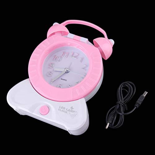Caliente 2 en 1 Mesa de Noche Multifuncional para el hogar Escritorio Luz de Noche Lámpara Puntero Reloj Elegante Rosa, Uniquelove