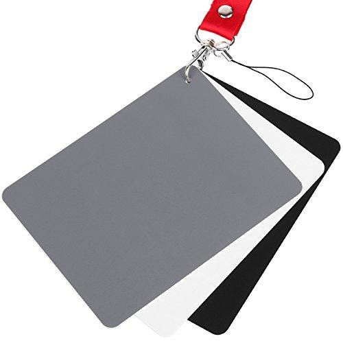 Chromlives Weißabgleichkarte 18% Weiß Graukarte 12,7 x 10,2 cm für Video-, DSLR- und Film Premiumbelichtungs Fotokartenset, Schwarzweiß und 18% Grau