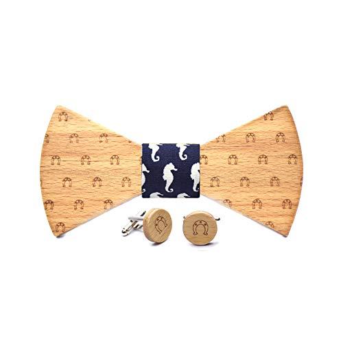 Conjunto pajarita y gemelos de madera Horseshoe. Colección moda hombre: línea boda y eventos. Diseño de herradura de caballo. Regalo elegante y original. Nudo a elegir