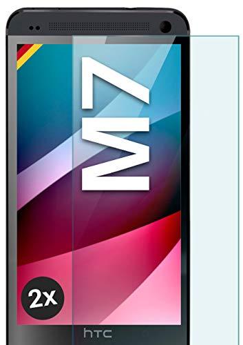 MoEx HD Film de Vidrio Compatible con los HTC One M7 | Vidrio blindado Resistente a los arañazos + 9H Film de protección de Vidrio, cristalino 2X pièces