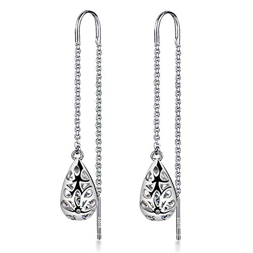 Meyiert 925 Sterling Silver zirconia Needle Drop Threader Pull Through Filigree Earrings for Womens (White)