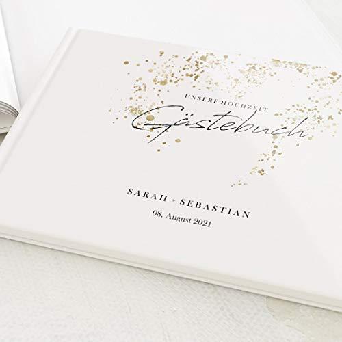 sendmoments Foto Gästebuch Hochzeit Goldene Farbtupfer, personalisiert mit Wunschtext, hochwertiges...