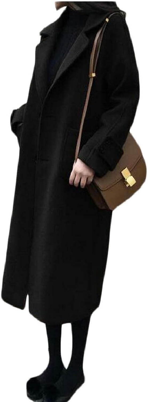 RGCA Womens Long Sleeve Warm Woolen Long Jacket Trench Coat Outwear