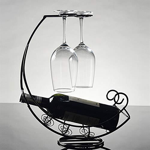 Botellero de Vino, Metal Botella de vino Tenedor de almacenamiento Barra de rack Soporte Soporte Soporte Bronize Barware Suministros Accesorios Decoración Decorativo Retro (Color : Black)